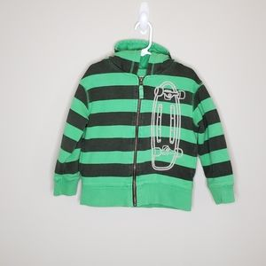 Mini Boden Striped Hooded Zip Front Sweatshirt